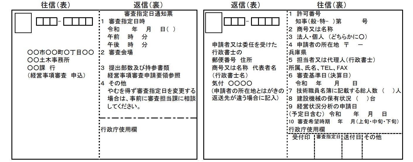 兵庫県経営事項審査のハガキ