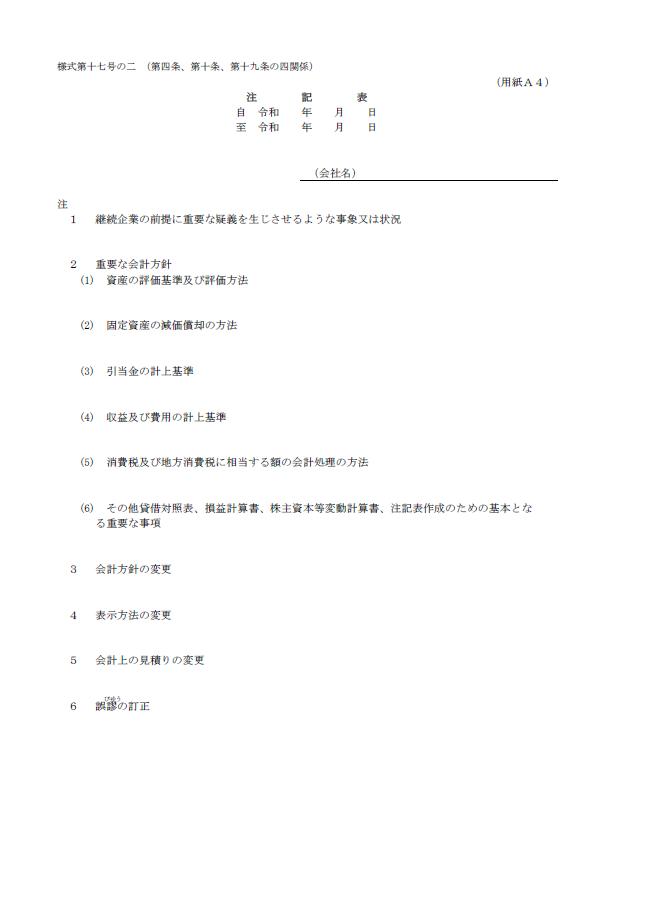 【建設業許可申請】財務諸表(法人用)注記表 様式第17号の2