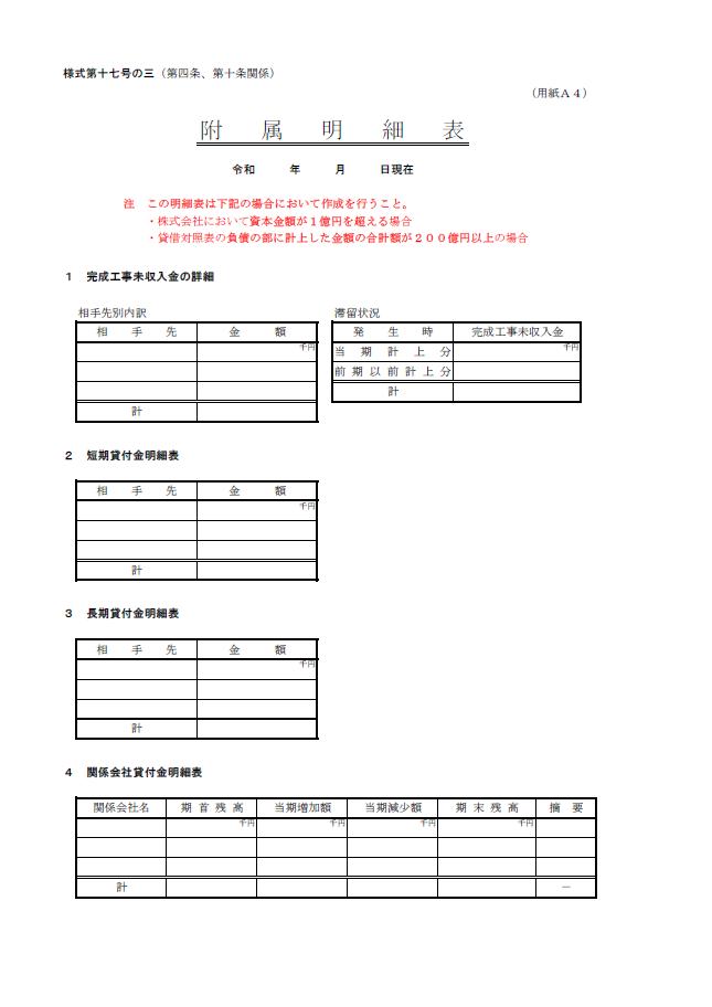 【建設業許可申請】財務諸表(法人用)附属明細書 様式第17号の3 1