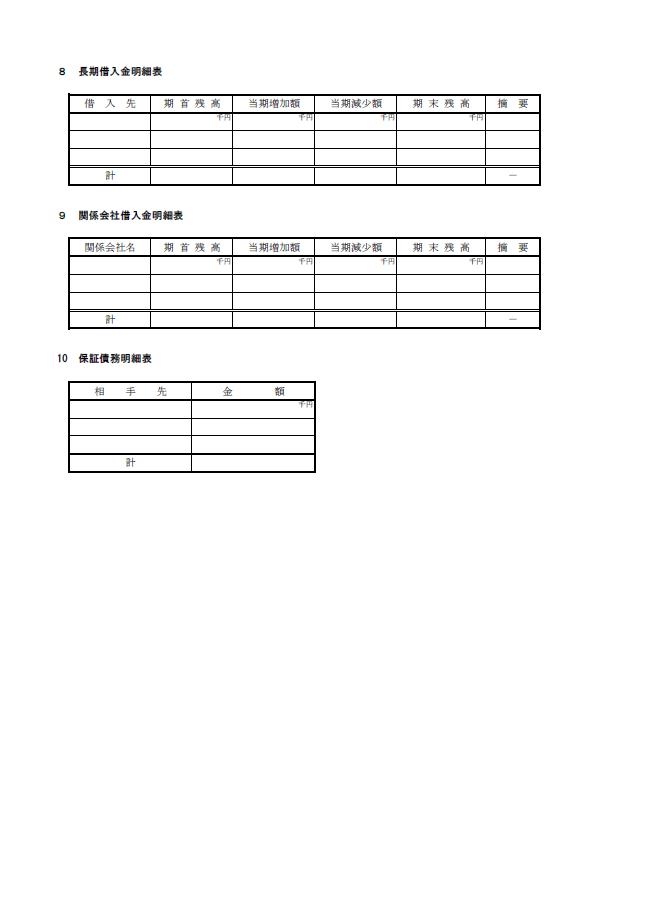 【建設業許可申請】財務諸表(法人用)附属明細書 様式第17号の3 3