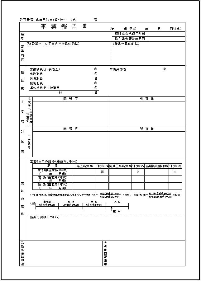 兵庫県【建設業許可申請】財務諸表(法人用)事業報告書