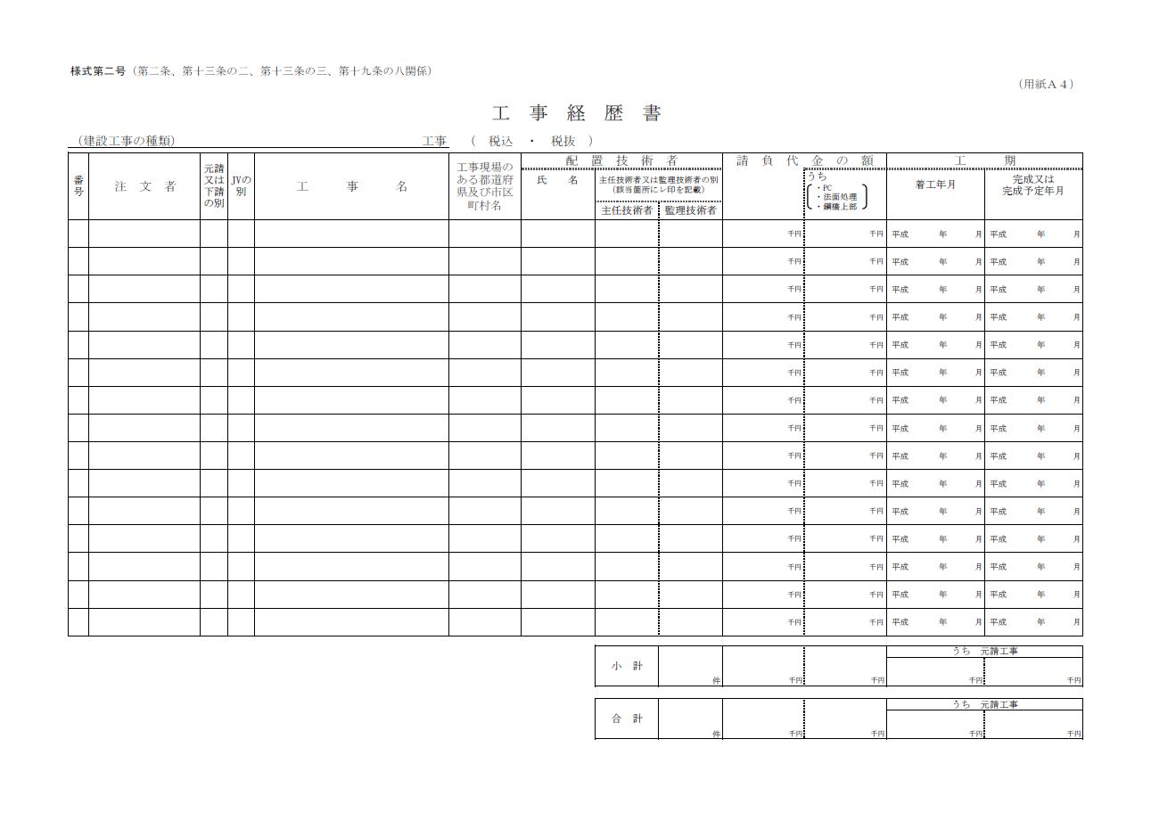 【建設業許可申請】工事経歴書 様式第2号