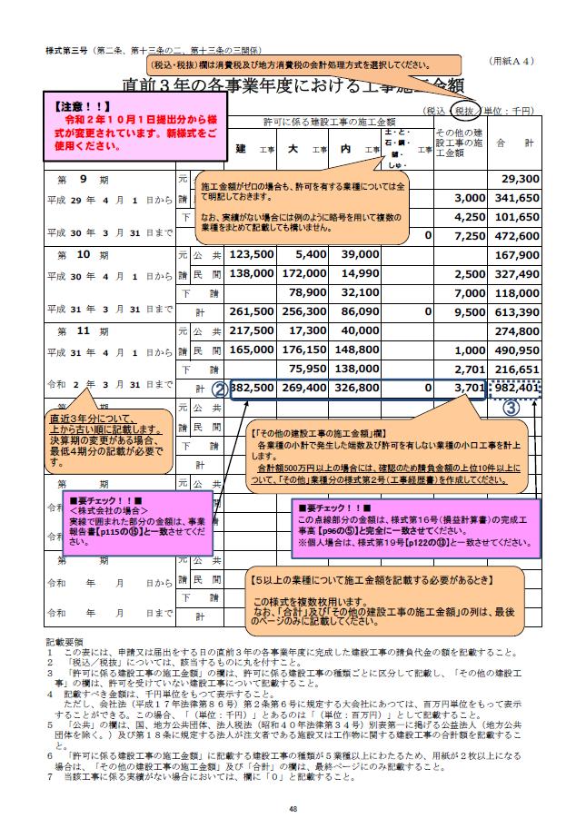 【建設業許可申請】直前3年の各事業年度における工事施工金額 様式第3号 記載例