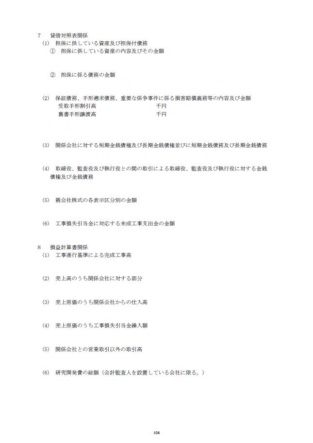 記載例【建設業許可申請】財務諸表(法人用)注記表 様式第17号の2 2