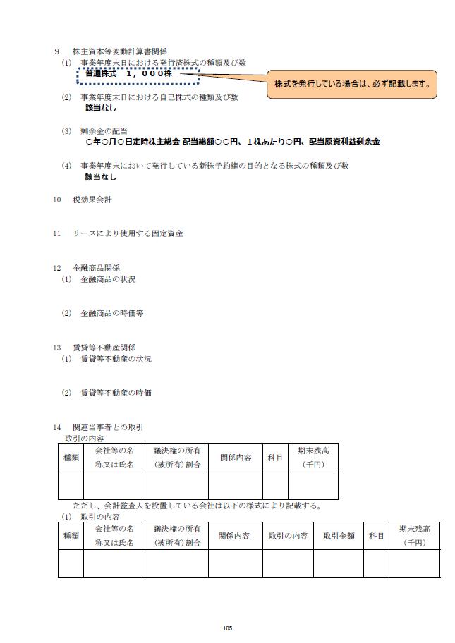 記載例【建設業許可申請】財務諸表(法人用)注記表 様式第17号の2 3