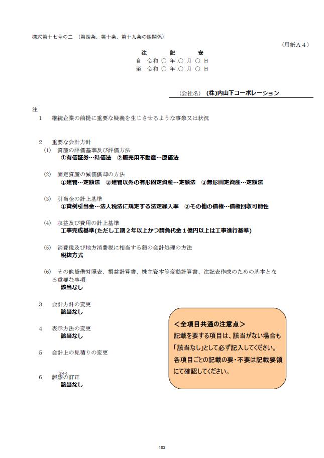 記載例【建設業許可申請】財務諸表(法人用)注記表 様式第17号の2