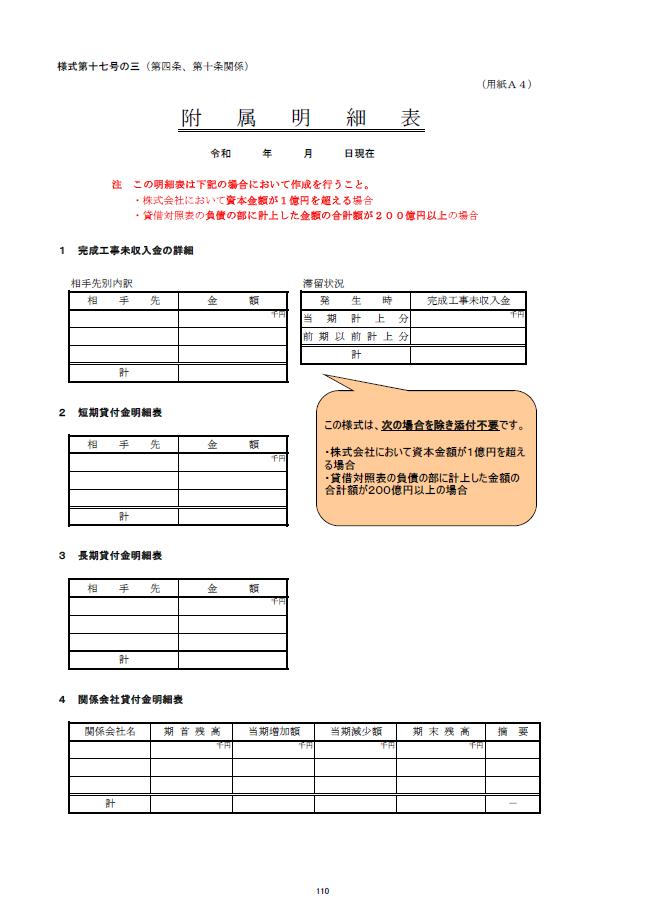 記載例【建設業許可申請】財務諸表(法人用)附属明細書 様式第17号の3 1