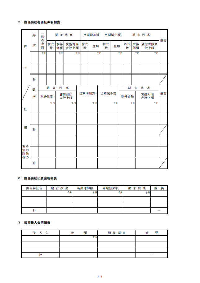 記載例【建設業許可申請】財務諸表(法人用)附属明細書 様式第17号の3 2