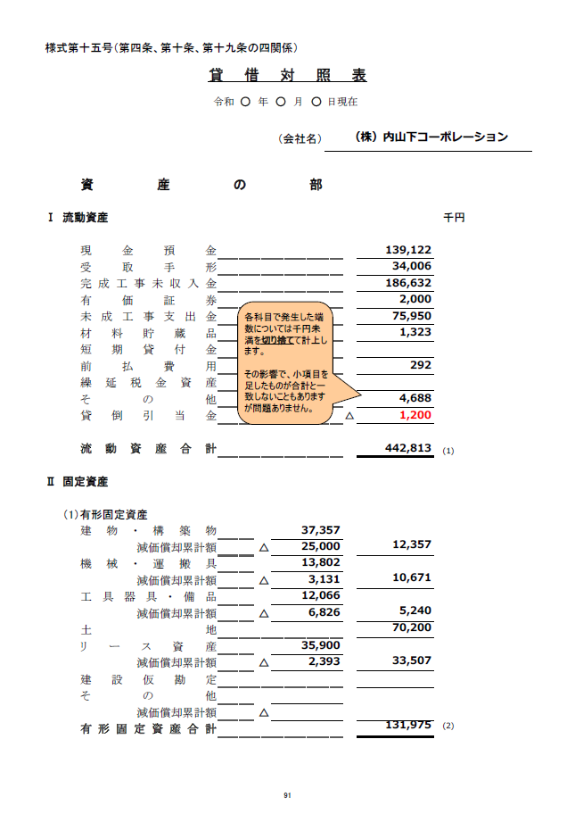 記載例【建設業許可申請】財務諸表(法人用)貸借対照表 様式第15号 1