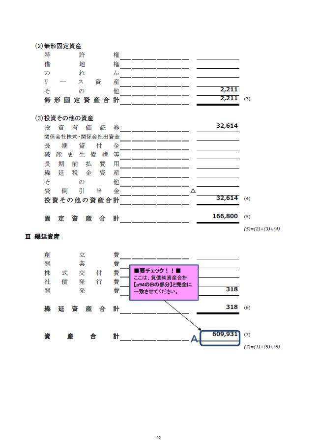 記載例【建設業許可申請】財務諸表(法人用)貸借対照表 様式第15号 2