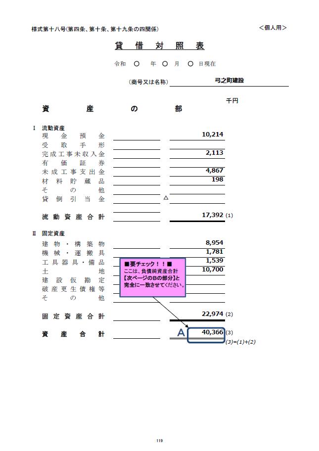 記載例【建設業許可申請】財務諸表(個人用)貸借対照表 様式第18号 2
