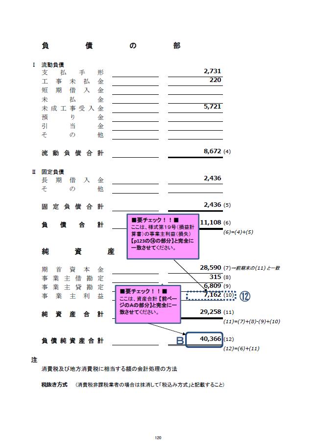 記載例【建設業許可申請】財務諸表(個人用)貸借対照表 様式第18号 3