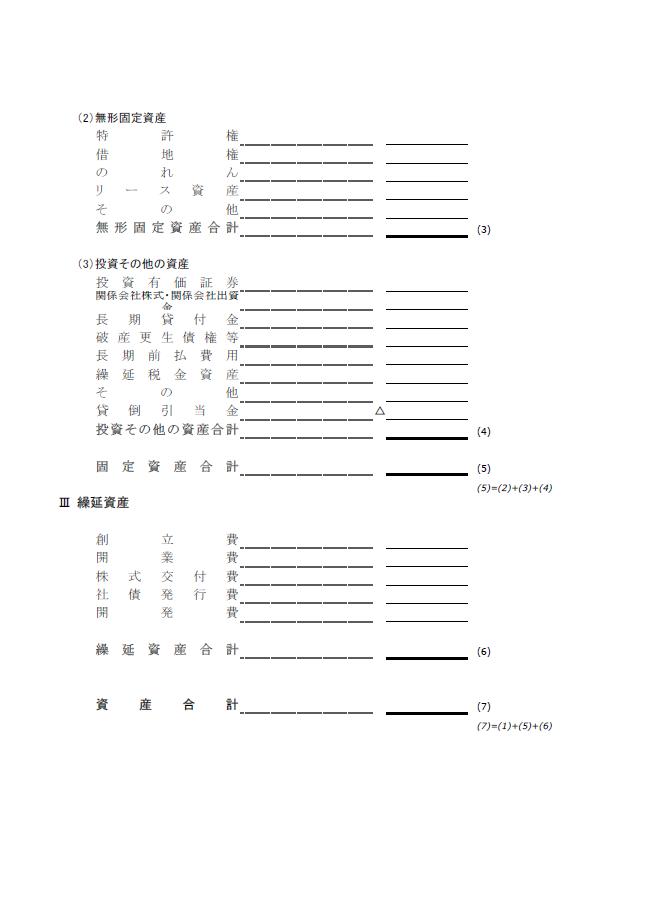 【建設業許可申請】財務諸表(法人用)貸借対照表 様式第15号 2