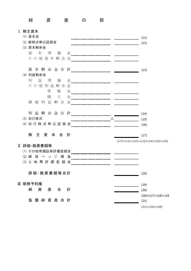 【建設業許可申請】財務諸表(法人用)貸借対照表 様式第15号 4
